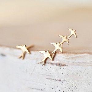 Flock of bird. Climbing earring Original off Etsy